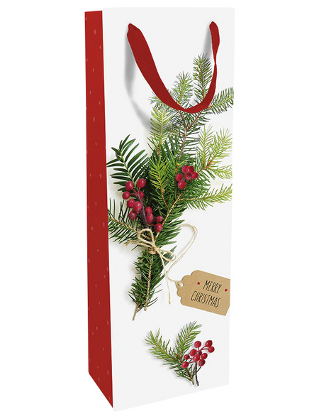 Geschenktasche Flasche Weihnachtsgrün, 12x37x8 cm, matt