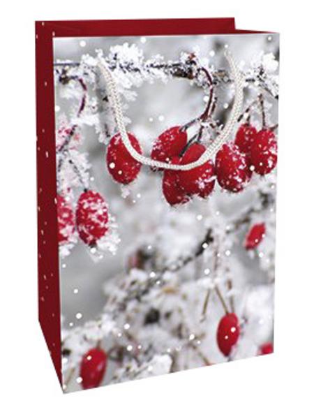 Geschenktasche Frosted Berries, 11x16x5 cm, glänzend