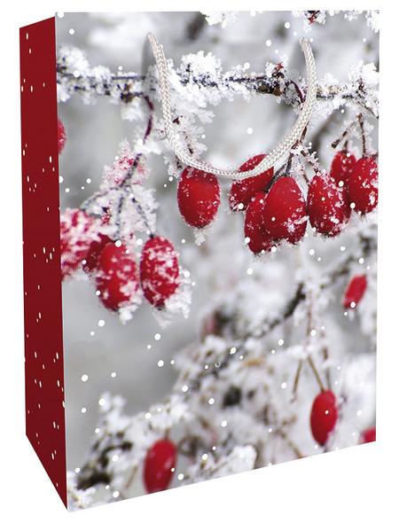 Geschenktasche Frosted Berries, 25x33x11 cm, glänzend