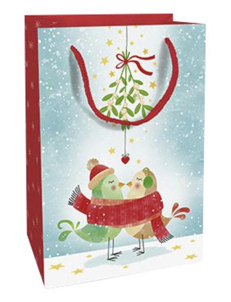Geschenktasche Mistletoe Kiss, 11x16x5 cm, glänzend
