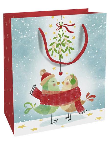Geschenktasche Mistletoe Kiss, 18x21x8 cm, glänzend