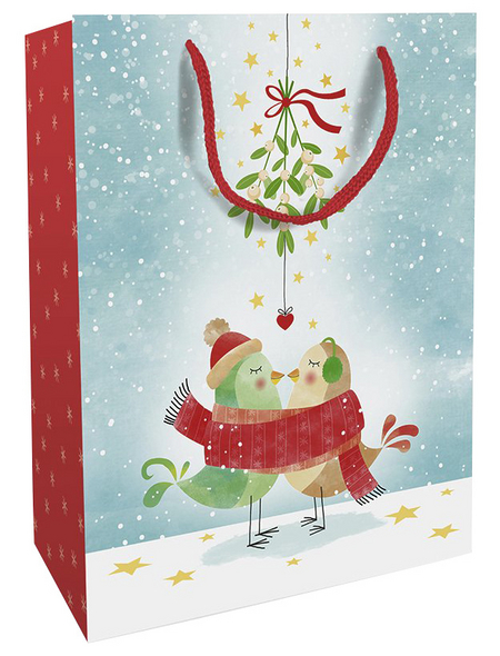 Geschenktasche Mistletoe Kiss, 25x33x11 cm, glänzend