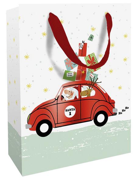 Geschenktasche Santas Car, 25x33x11 cm, matt mit Heissfolie