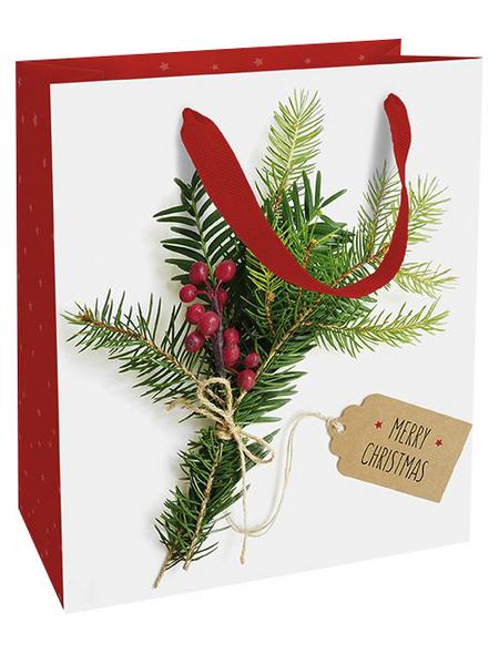 Geschenktasche Weihnachtsgrün, 18x21x8 cm, matt
