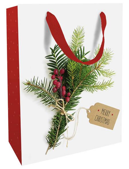 Geschenktasche Weihnachtsgrün, 25x33x11 cm, matt