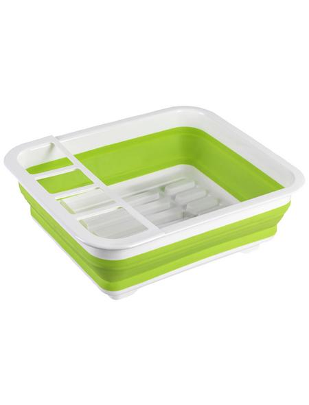 WENKO Geschirrabtropfer faltbar Grün/Weiß Geschirr-Abtropfständer, Abtropfgestell für Geschirr und Besteck
