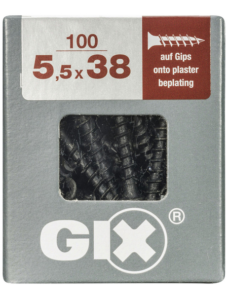 SPAX Gipsschraube, 5,5 mm, Stahl, 100 Stk., GIX G 5,5x38 L