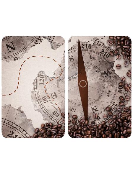 WENKO Glasabdeckplatte »Universal Kompass«, BxHxT: 3 x 1,8 x 52 cm, Glas/Thermoplaste, mehrfarbig