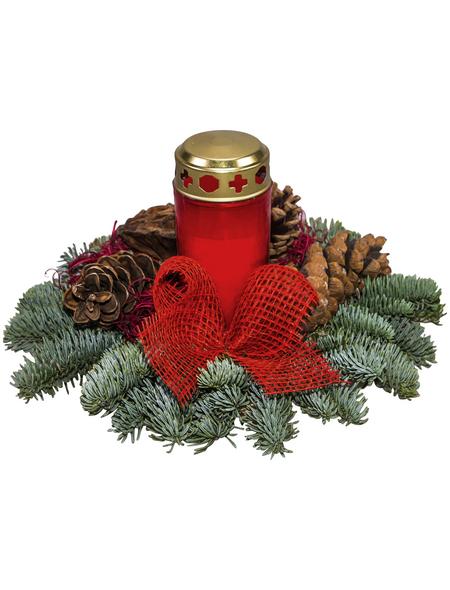Grabgesteck, rot dekoriert mit Grablicht