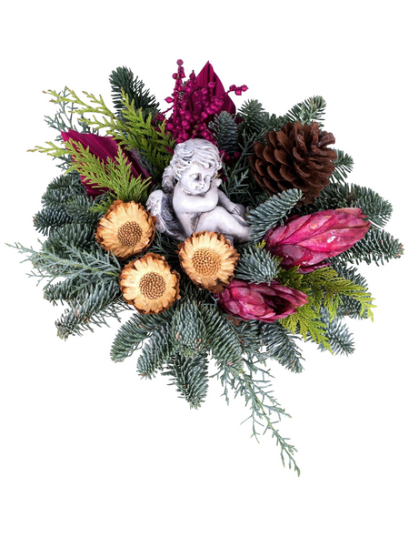 Grabgesteck, Tanne, Ø 15 cm, garniert, mit Engel