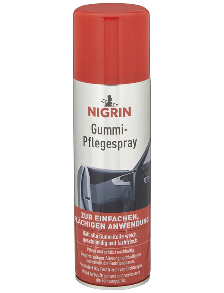 NIGRIN Gummi-Pflegespray, 1x 300 ml, Silber, Metall
