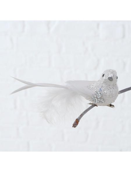 BOLTZE Hängefigur »Vogel mit Clip«, Federn, weiß
