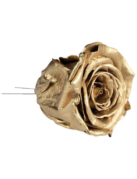 flowerbox Handgefertigte Christbaumschmuck-Rosen, Gold