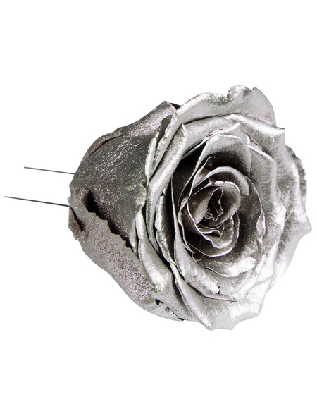 flowerbox Handgefertigte Christbaumschmuck-Rosen, Silber