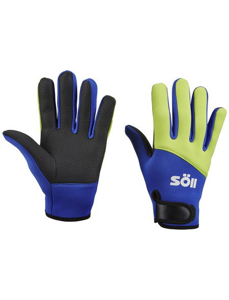 Handschuhe, gelb/blau