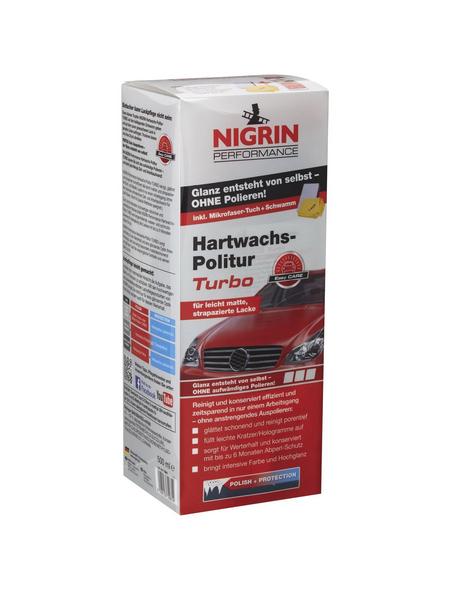 NIGRIN Hartwachs-Politur, 1x 500 ml, 1x Applikationsschwamm, 1x Microfasertuch, Silber, Kunststoff