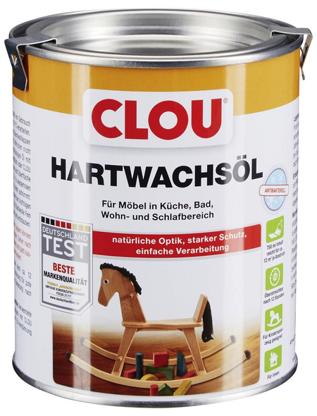 CLOU Hartwachsöl, transparent, seidenmatt, 0,75 l