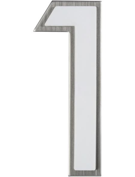 SÜDMETALL Hausnummer, 1, Weiß, Kunststoff | Edelstahl, 11,7 x 17 x 1,8 cm, nachtleuchtend