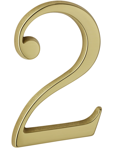 ANSAPRO Hausnummer, 2, Gold, Messing, 8 x 12 x 0,5 cm