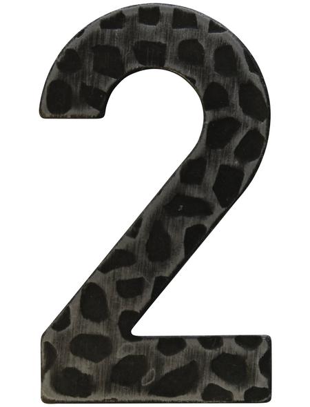 SÜDMETALL Hausnummer, 2, Schwarz, Eisen, 11,7 x 17 x 1,8 cm