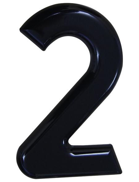 SÜDMETALL Hausnummer, 2, Schwarz, Kunststoff, 15,7 x 22,7 x 1,8 cm