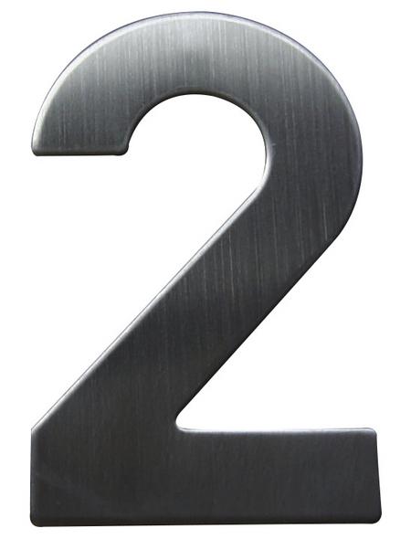 SÜDMETALL Hausnummer, 2, Silber, Edelstahl, 11,7 x 17 x 1,8 cm