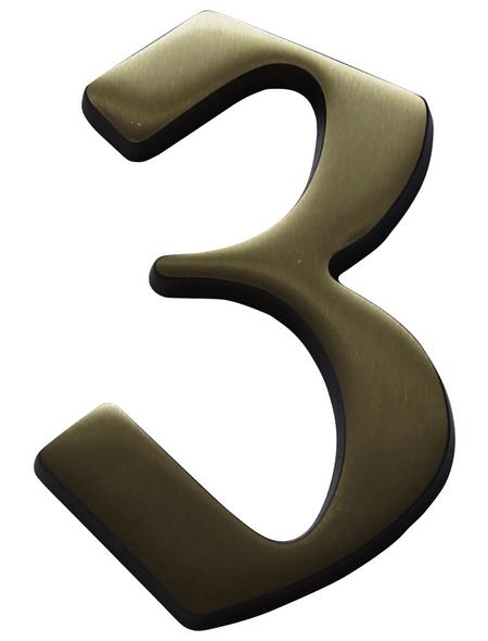 SÜDMETALL Hausnummer, 3, Braun, Messing, 11,7 x 17 x 1,8 cm