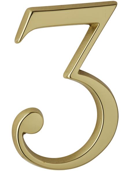 ANSAPRO Hausnummer, 3, Gold, Messing, 8 x 11,5 x 0,5 cm