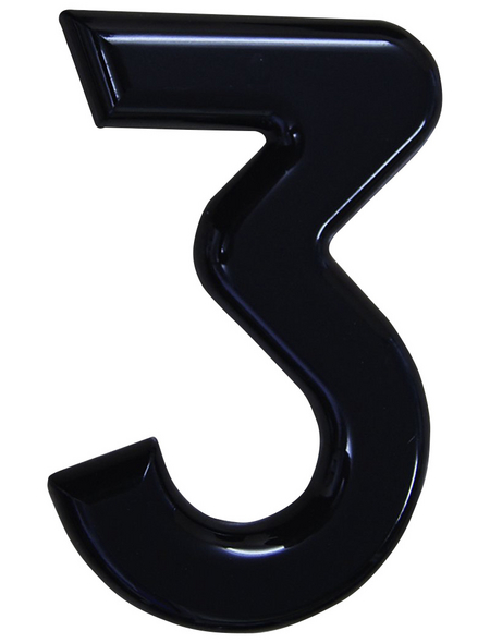 SÜDMETALL Hausnummer, 3, Schwarz, Kunststoff, 15,7 x 22,7 x 1,8 cm