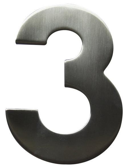 SÜDMETALL Hausnummer, 3, Silber, Edelstahl, 11,7 x 17 x 1,8 cm
