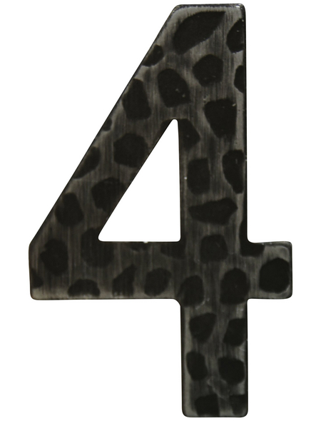 SÜDMETALL Hausnummer, 4, Schwarz, Eisen, 11,7 x 17 x 1,8 cm