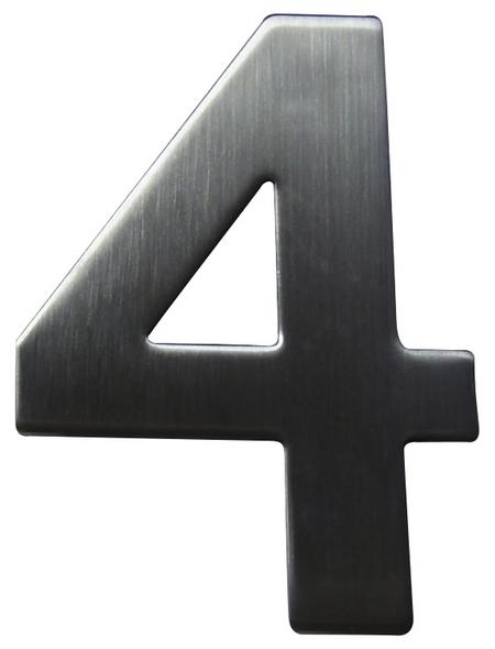 SÜDMETALL Hausnummer, 4, Silber, Edelstahl, 11,7 x 17 x 1,8 cm