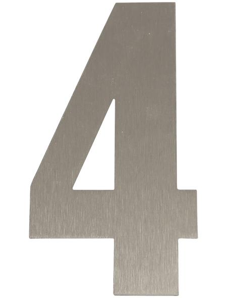 SÜDMETALL Hausnummer, 4, Silber, Edelstahl, 15,7 x 22,7 x 1,8 cm