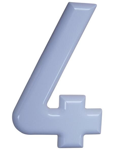 SÜDMETALL Hausnummer, 4, Weiß, Kunststoff, 15,7 x 22,7 x 1,8 cm