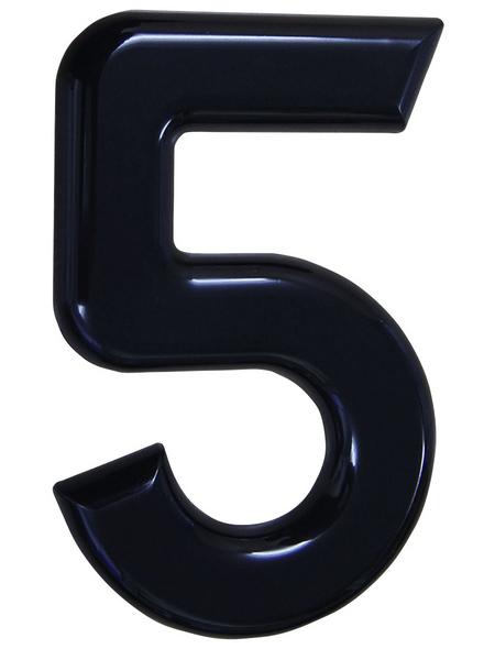 SÜDMETALL Hausnummer, 5, Schwarz, Kunststoff, 15,7 x 22,7 x 1,8 cm