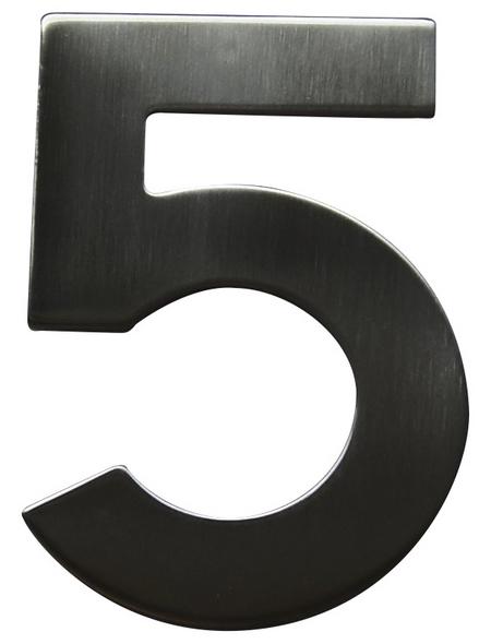 SÜDMETALL Hausnummer, 5, Silber, Edelstahl, 11,7 x 17 x 1,8 cm