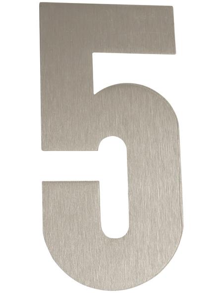 SÜDMETALL Hausnummer, 5, Silber, Edelstahl, 15,7 x 22,7 x 1,8 cm