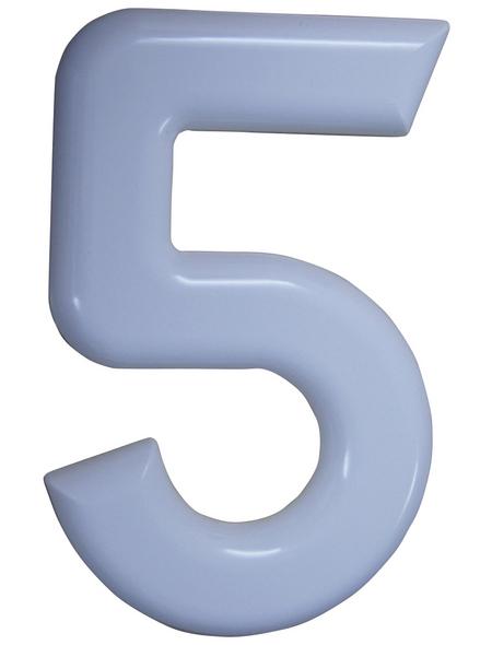 SÜDMETALL Hausnummer, 5, Weiß, Kunststoff, 15,7 x 22,7 x 1,8 cm