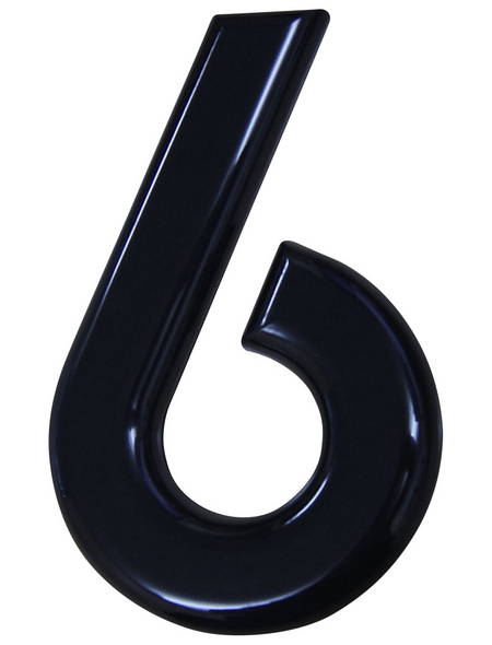 SÜDMETALL Hausnummer, 6, Schwarz, Kunststoff, 15,7 x 22,7 x 1,8 cm