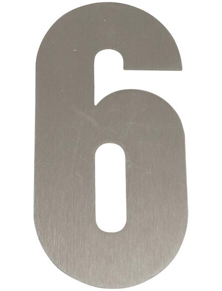 SÜDMETALL Hausnummer, 6, Silber, Edelstahl, 15,7 x 22,7 x 1,8 cm
