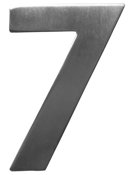SÜDMETALL Hausnummer, 7, Silber, Edelstahl, 11,7 x 17 x 1,8 cm