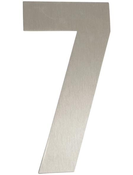 SÜDMETALL Hausnummer, 7, Silber, Edelstahl, 15,7 x 22,7 x 1,8 cm