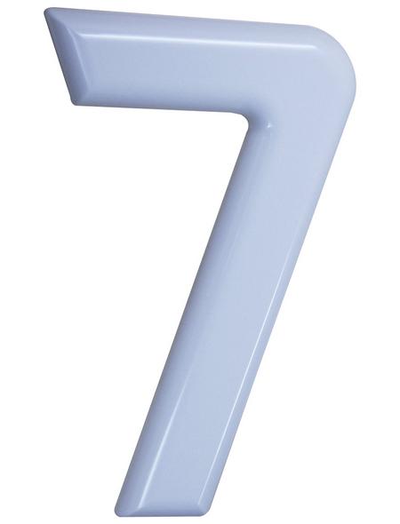SÜDMETALL Hausnummer, 7, Weiß, Kunststoff, 15,7 x 22,7 x 1,8 cm