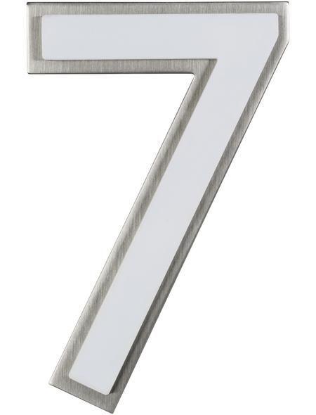 SÜDMETALL Hausnummer, 7, Weiß, Kunststoff   Edelstahl, 11,7 x 17 x 1,8 cm, nachtleuchtend