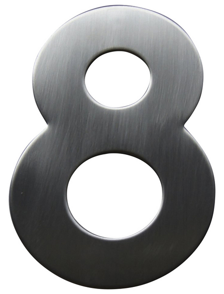SÜDMETALL Hausnummer, 8, Silber, Edelstahl, 11,7 x 17 x 1,8 cm