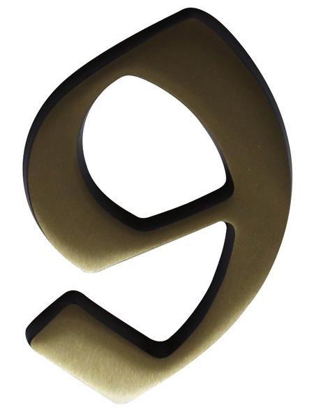 SÜDMETALL Hausnummer, 9, Braun, Messing, 11,7 x 17 x 1,8 cm