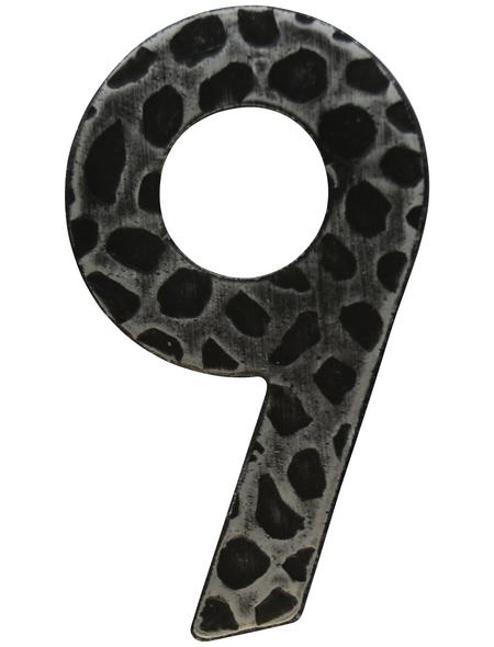 SÜDMETALL Hausnummer, 9, Schwarz, Eisen, 11,7 x 17 x 1,8 cm