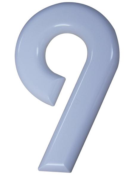 SÜDMETALL Hausnummer, 9, Weiß, Kunststoff, 15,7 x 22,7 x 1,8 cm