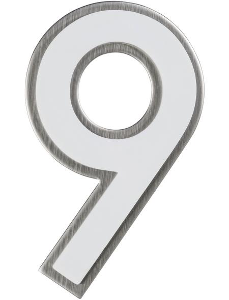 SÜDMETALL Hausnummer, 9, Weiß, Kunststoff   Edelstahl, 11,7 x 17 x 1,8 cm, nachtleuchtend
