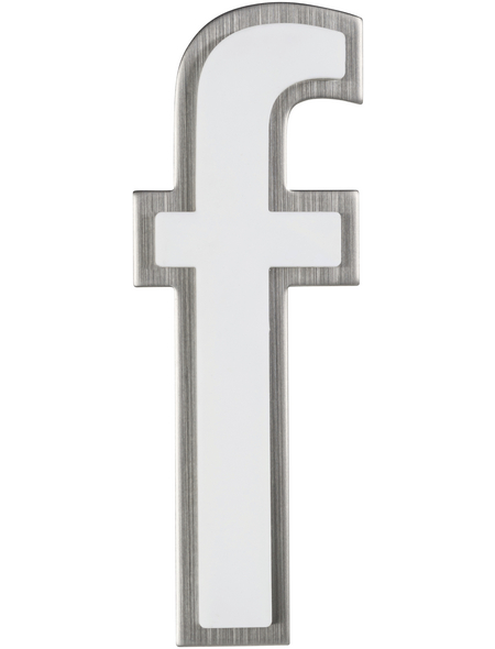 SÜDMETALL Hausnummer, f, Weiß, Kunststoff   Edelstahl, 11,7 x 17 x 1,8 cm, nachtleuchtend